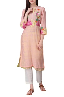 Floral patchwork tunic with digital printed lining
