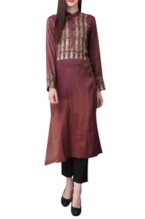 Embroidered tunic with flared hemline
