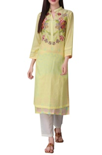 Floral print tunic with button placket detail
