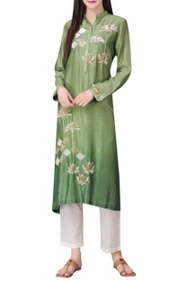 Hand embroidered tunic with button placket