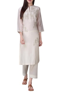Chanderi silk zari embroidered tunic