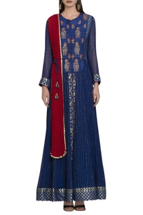 Matka silk & georgette zardozi embroidered anarkali set