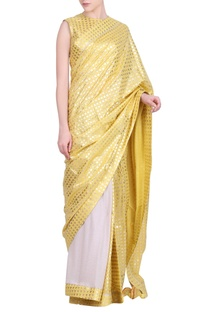 Crepe & crushed cotton foil printed saree with blouse