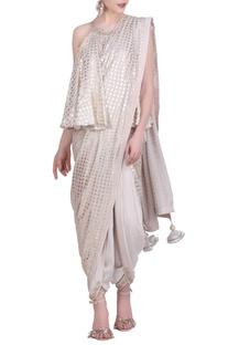 Crepe gold foil printed dhoti saree set