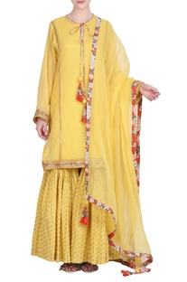 Kota doria jaal printed kurta with sharara pants & dupatta