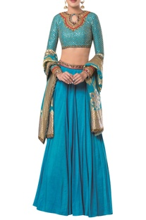 Embroidered blouse with lehenga and banarasi dupatta