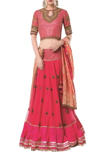 Embroidered lehenga with blouse and banarasi dupatta