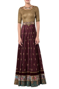 Embroidered floral motif velvet gown
