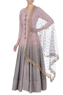 Ombre mukaish & lucknowi jacket anarkali & lehenga set