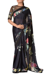 Floral digital printed sari with embroidered blouse