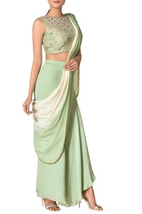 Pre-draped crepe concept sari with embroidered blouse