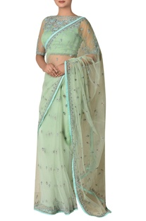 Nylon net floral embroidered sari with blouse