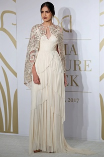 Pleated layered gown with floral embroidered jacket