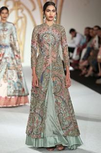 Net floral embroidered jacket & lehenga set