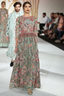 Net floral bead embroidered gown
