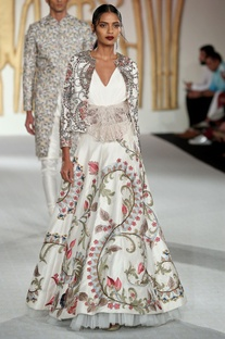 Raw silk lehenga with floral embroidered jacket & blouse