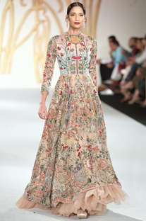 Net floral embroidered flared gown