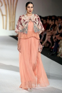 Tiered style scallop gown with embroidered jacket