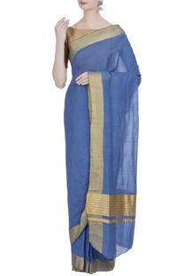 Pure zari work handloom cotton sari & unstitched blouse
