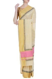 Handloom cotton block printed sari & unstitched blouse