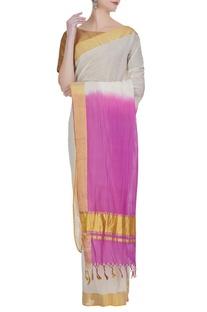 Pure zari work dual tone handloom sari with unstitched blouse