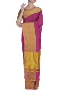 Rich gold border handloom sari with unstitched blouse