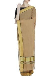 Earthy toned pure zari work handloom sari & unstitched blouse