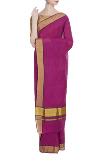 Pure zari work handloom cotton sari & unstitched blouse