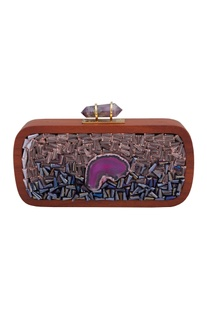 Jewel-encrusted box clutch with detachable chain