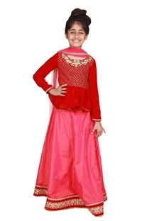 Embroidered peplum blouse with lehenga and dupatta