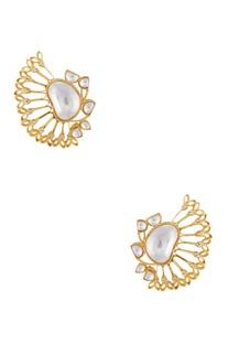 Kundan embellished circular earrings