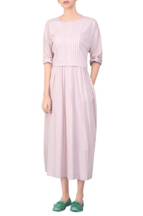 Pleated yoke maxi dress