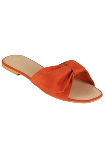 Suede bow strap flat sandals