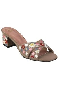 Hand embroidered floral block heels