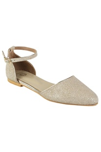 Glitter finish d'orsay loafers with ankle straps