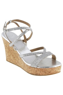 4-inch strappy wedge heels