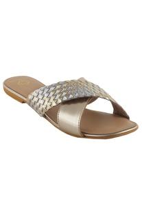 Woven cross-strap flat sandals