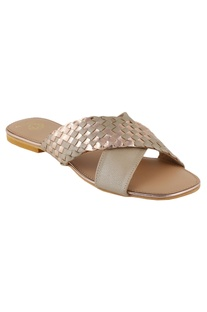 Woven cross-strap flat sandals