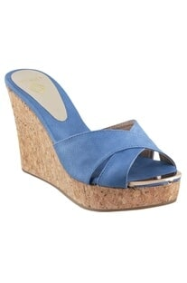 Platform wedges with cross blue straps