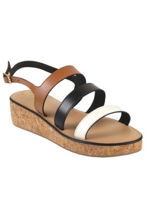 Multi-strap tri-colored sandals