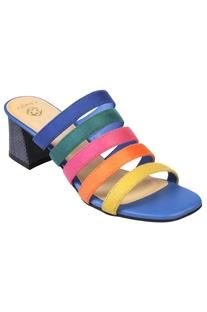 Medium block heels with multiple straps