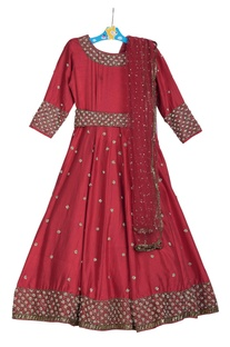 Cutdana embroidered anarkali dress with dupatta