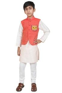 Owl motif embroidered jacket with kurta and churidar