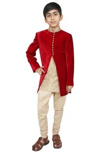 Bandhgala jacket with kurta and churidar