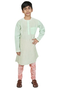 Threadwork embroidered kurta with churidar
