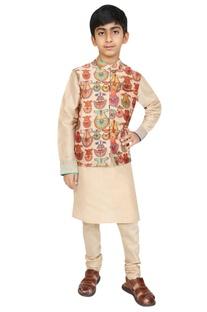 Printed nehru jacket with kurta and churidar