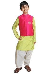 Embroidered jacket with kurta and salwar