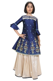 Embroidered jacket kurta with lehenga