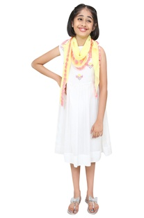 Threadwork embroidered dress with scarf