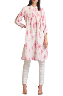 Shirt style tunic with cherry blossom print